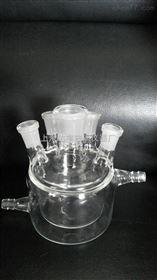 五口玻璃双层反应釜 实验室玻璃反应釜  双层反应釜