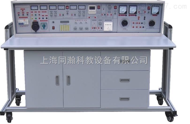 """四合一实验室成套设备初级电工、电拖实训考核装置(柜式)通用电工电子实验室 一四合一实验室成套设备初级电工、电拖实训考核装置(柜式)通用电工电子实验室意义: 该设备是在""""TH-28D 通用电工、电子、电力拖动实验室成套设备""""的基础上增加了直流电机的调速环节,直流实验电机等,除能完成前者全部实验内容外,能完成教学大纲要求的基础直流电机实验。该设备研制成功,解决了广大学校直流电机实验元器件难以购置、难以管理、难以开出实验课的烦恼。该设备把电工学、电工原理、电子技术、电力拖动控制线路、直流"""