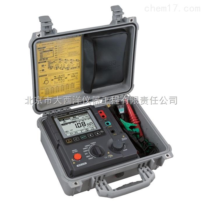 绝缘电阻测试仪3128  绝缘电阻测试仪3128简要参数: 数字高压绝缘测试仪,直流电压500V/1000V/2500V/5000V/10000V/12000,绝缘电阻35TΩ,短路电流最大5.0mA,电压、电流、电容测量,PI和DAR,画面截取、自动放电、电压输出警告功能,LCD显示屏和条形图表显示绝缘电阻值和漏电流值的变化。 绝缘电阻测试仪3128产品介绍: 测试电压最大12KV,电阻最大35TΩ,短路电流最大5mA。  带背光灯的大型LCD显示屏和条形图表显示绝缘电阻值和漏电