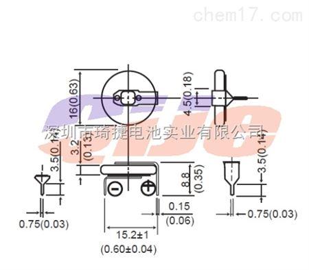 产品展厅 配件耗材 电源设备 电池 cr1632电池加脚 cr1632纽扣电池3v