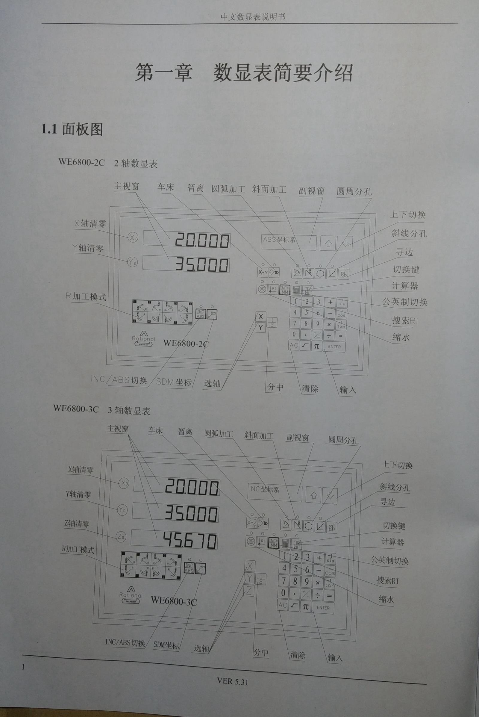 型号:  WE6800-2 两轴数显表  WE6800-3 三轴数显表  WE6800E 火花机专用数显表  WE6800-2C 两轴中文数显表  WE6800-3C 三轴中文数显表  WE6800-EC 中文火花机专用数显表  三、WE6800,WE6800-2C,WE6800-3C,WE6800-EC万濠RATIONAL数显表安装尺寸及使用注意事项:  WE6800,WE6800-2C,WE6800-3C,WE6800-EC万濠RATIONAL数显表说明书:   万濠数显表光栅传感器销售维修