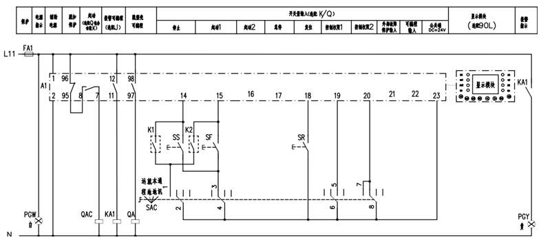 本图应用于ard2f电机保护器四位置直接起动控制