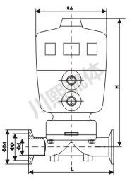宝德型气动隔膜阀尺寸图