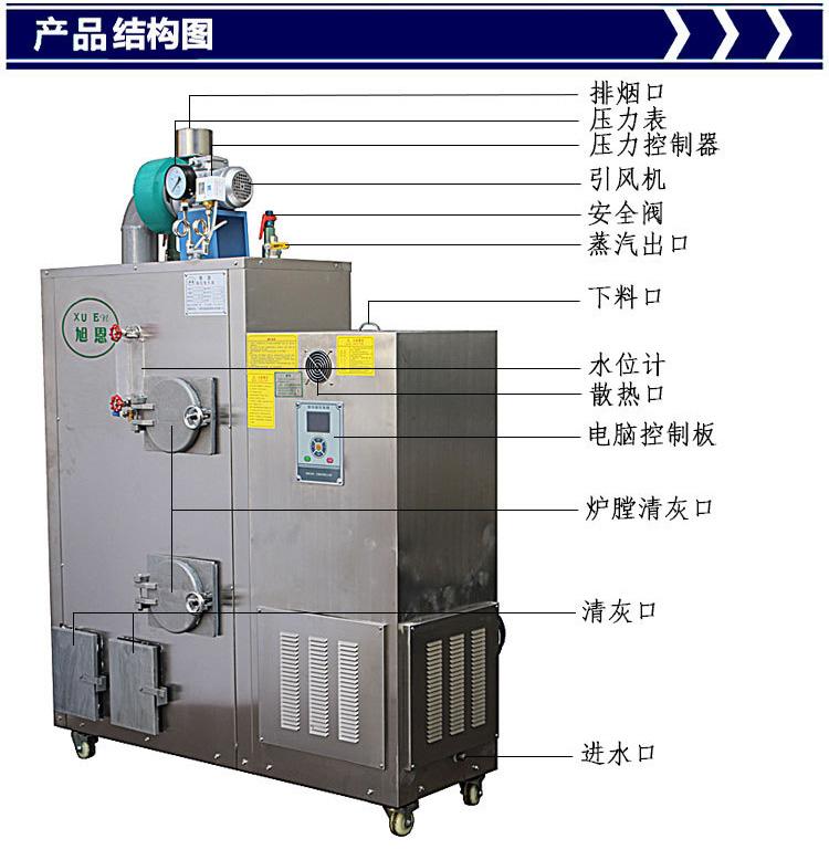 旭恩低压50KG生物质颗粒燃料蒸汽锅炉商行